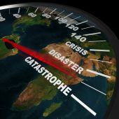 image of revelation  - A speedometer on the Earth shows humanity speeding toward global catastrophe - JPG