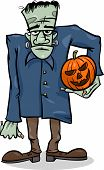 stock photo of frankenstein  - Cartoon Illustration of Spooky Halloween Zombie with Pumpkin or Frankenstein Like Monster - JPG