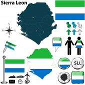stock photo of freetown  - Vector of Sierra Leon set with detailed country shape with region borders flags and icons - JPG