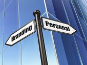 Advertising concept: Personal Branding on Building background poster