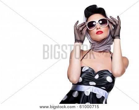 young stylish caucasian woman posing, isolated over white, retro styling, space for copy
