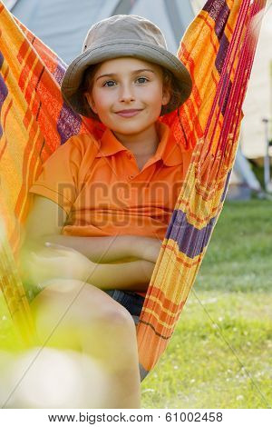 Summer vacation, hammock - lovely girl in a hammock