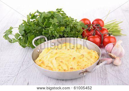 mashed potato and ingredients