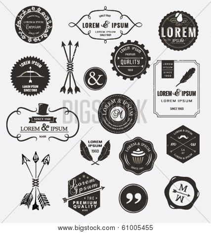 Vintage design elements. Retro style. arrows, labels, ribbons, symbols such as logos.