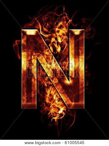 n, illustration of  letter with chrome effects and red fire on black background