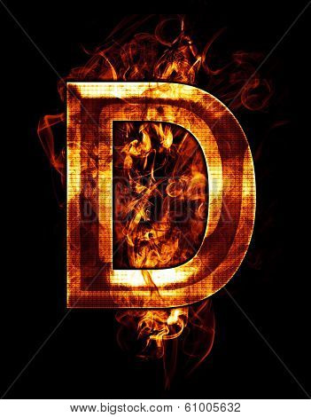 d, illustration of  letter with chrome effects and red fire on black background