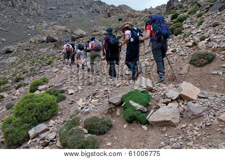 Group Walking In To Toubkal