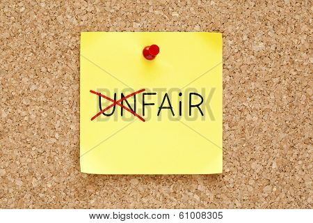 Fair Not Unfair Sticky Note