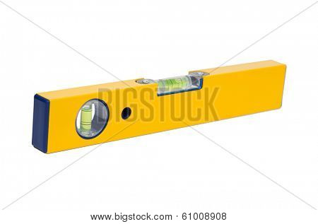 Precision tool: a yellow level isolated on white background