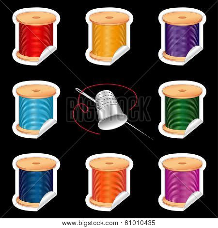 Needle And Threads Stickers, Thimble, Primary Colors