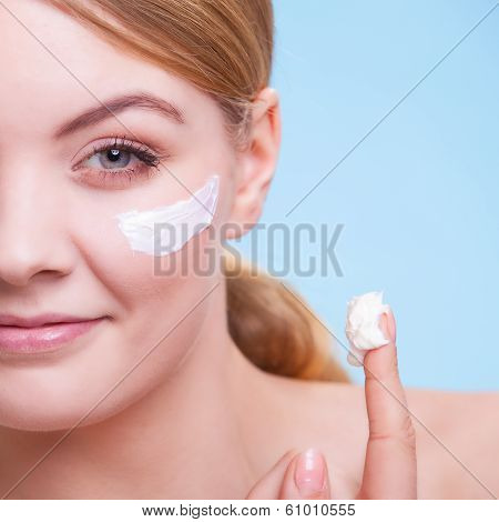 Skincare. Face Of Young Woman Girl Taking Care Of Dry Skin.