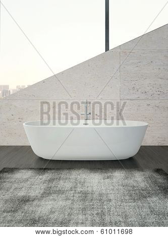 White bathtub against stone wall and crocked window