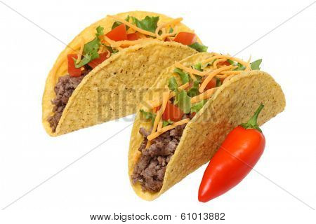 Tacos and red pepper, cutout on white background