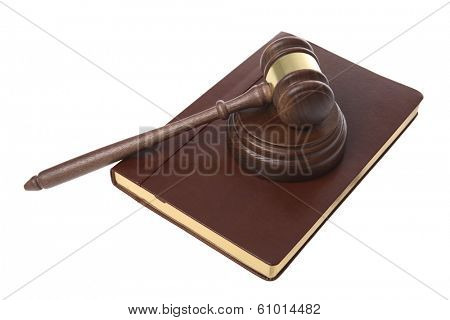 Gavel and leather bound book