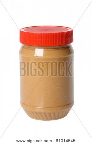 Jar of peanut butter, cutout on white background