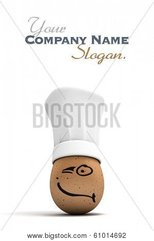 3D rendering of an egg with a painted winking face wearing a chef�?�¢??s toque