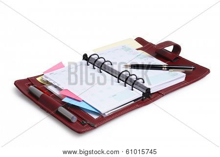 Personal Leather Organizer and Calender on white background