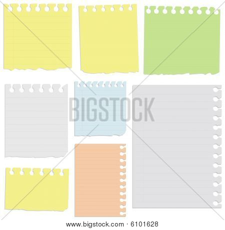 Set of notepad sheets