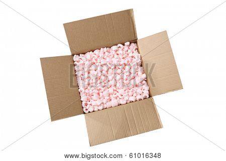 Cardboard box with styrofoam packaging