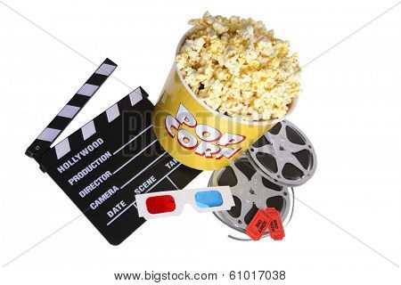 Collection of popcorn movie reel and director board on white background