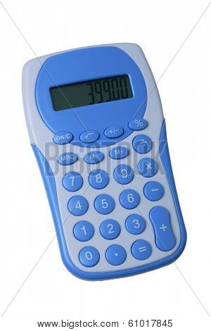 Blue calculator on white background