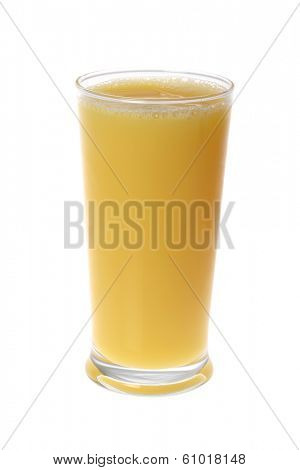 Full glass of orange juice in tall glass on white background