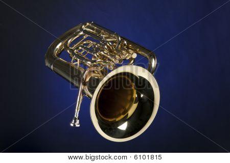 Tuba Euphonium Isolated On Blue