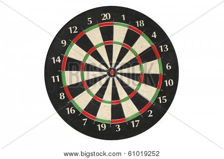 Generic dartboard without dart on white background