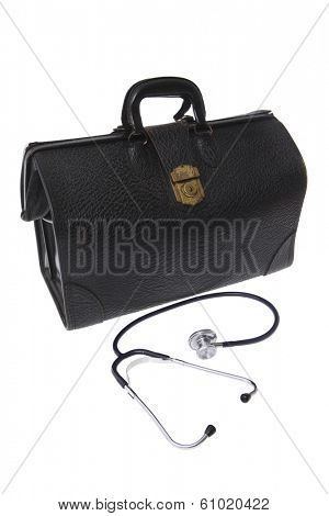 black leather doctor briefcase