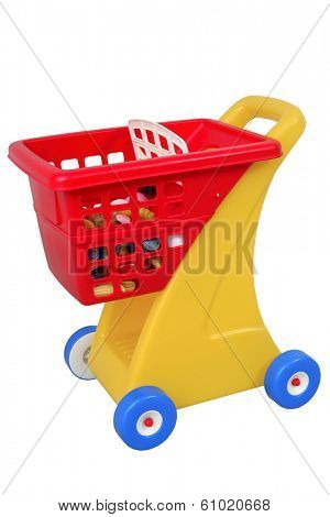 children toy of grocery cart on white background