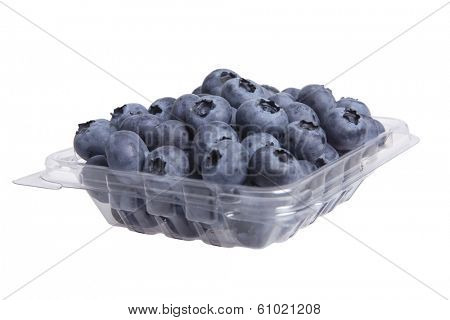 Blueberries in clear plastic container on white
