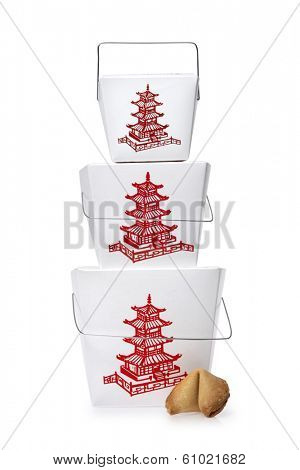 Asian food take out container with fortune cookie on white