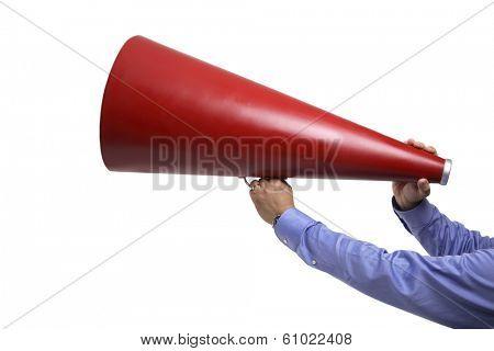 Hands holding megaphone