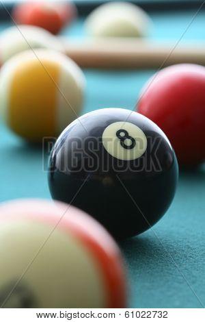 8 ball on pool table