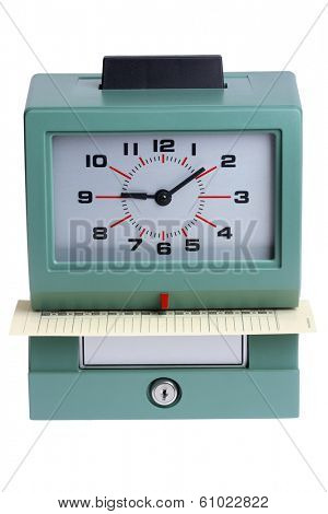 Time clock on white