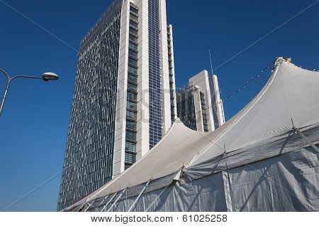 Big Top And Modern Buildings At Milan Clown Festival 2014