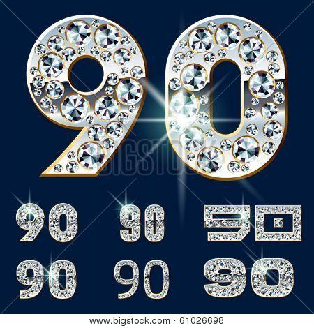 Ultimate vector alphabet of diamonds and platinum ingot. Six options. Numbers 9 0