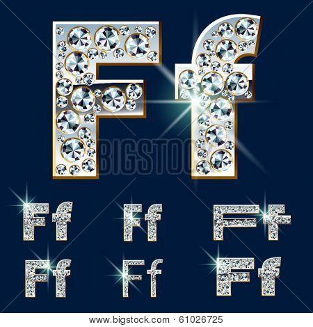 Ultimate vector alphabet of diamonds and platinum ingot. Six options. Letter f