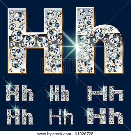 Ultimate vector alphabet of diamonds and platinum ingot. Six options. Letter h