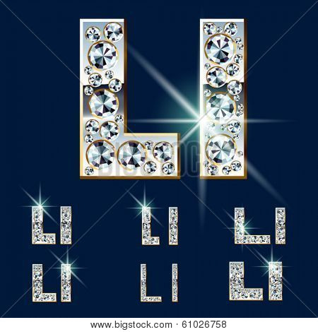 Ultimate vector alphabet of diamonds and platinum ingot. Six options. Letter l