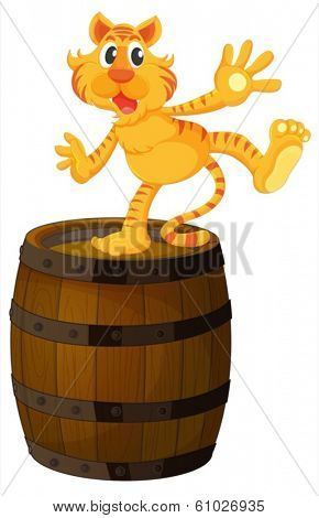 Illustration of a tiger above the wooden barrel on a white background