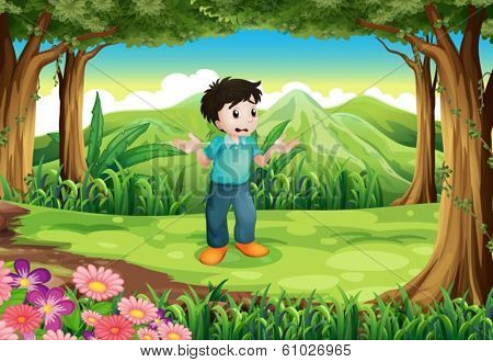 Illustration of a lost young man in the middle of the forest