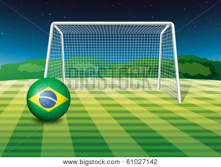 Illustration of a soccer ball with the flag of Brazil
