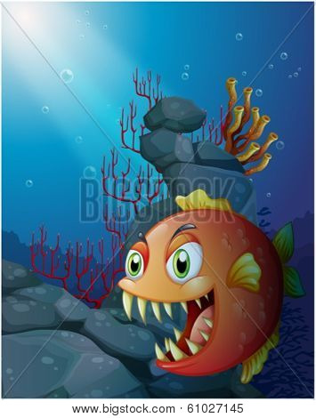 Illustration of a scary piranha under the sea near the rocks on a white background
