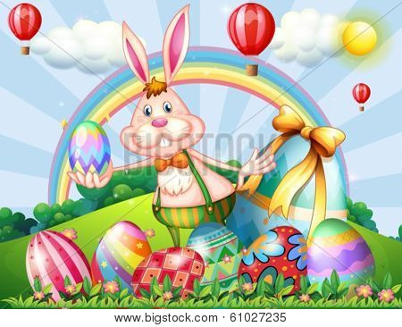 Illustration of a bunny at the hilltop with Easter eggs