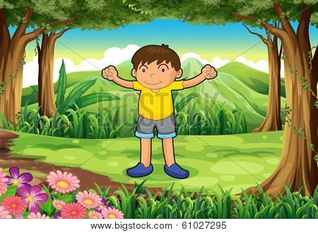 Illustration of a brave child at the jungle