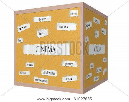 Cinema 3D Cube Corkboard Word Concept