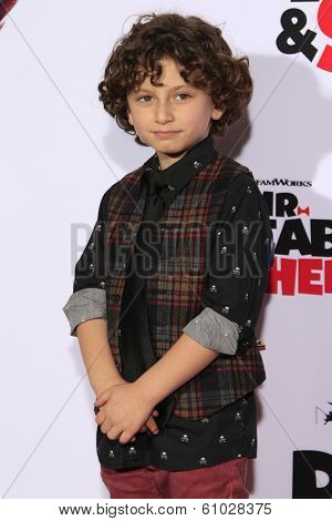 LOS ANGELES - MAR 5: August Maturo at the premiere of 'Mr. Peabody & Sherman' at Regency Village Theater on March 5, 2014 in Los Angeles, California