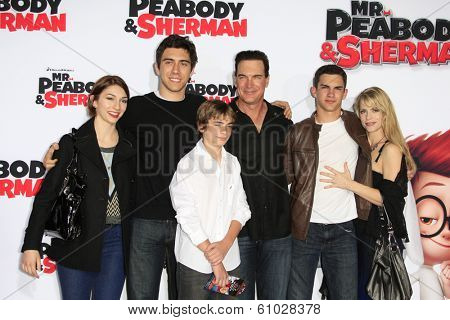 LOS ANGELES - MAR 5: Patrick Warburton, wife, children at the premiere of 'Mr. Peabody & Sherman' at Regency Village Theater on March 5, 2014 in Los Angeles, California