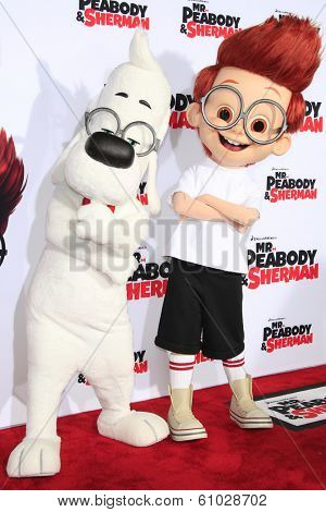 LOS ANGELES - MAR 5: Mr. Peabody, Sherman at the premiere of 'Mr. Peabody & Sherman' at Regency Village Theater on March 5, 2014 in Los Angeles, California